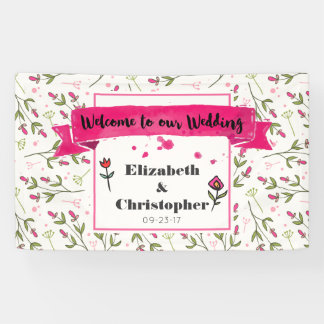 Willkommen zu unseren Hochzeits-Wildblumen Banner