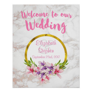 Willkommen zu unserer Hochzeit mit Blumen und Poster