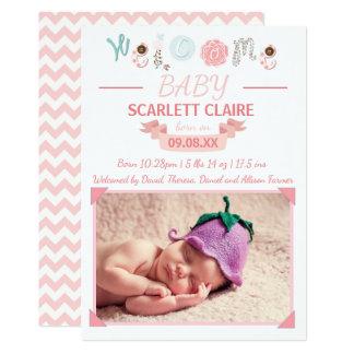 Willkommenes Baby mit Foto - Geburts-Mitteilung 12,7 X 17,8 Cm Einladungskarte