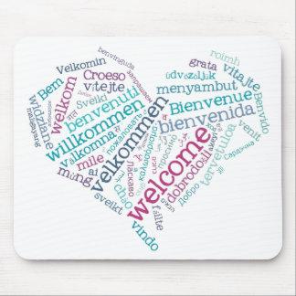 Willkommenes Herz (viele Sprachen) Mousepad