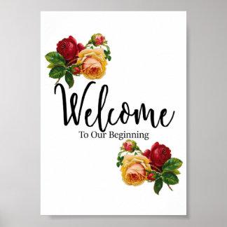 Willkommenes Hochzeits-Zeichen Poster