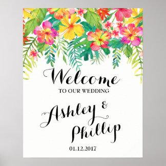 Willkommenes Hochzeits-Zeichen tropisch Poster
