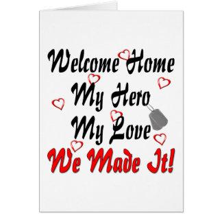 Willkommenes Zuhause mein Held meine Liebe machten Karte