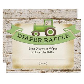 Windelraffle-Karte - grüne Traktor-Babyparty 8,9 X 12,7 Cm Einladungskarte