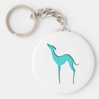 Windhund-/Whippettürkis-Silhouette Keychain Schlüsselanhänger