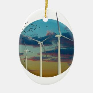 Windkraftanlagen malten Himmel Ovales Keramik Ornament