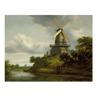 Windmühle durch einen Fluss Postkarte