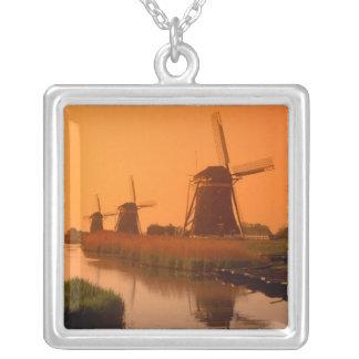 Windmühlen am Sonnenuntergang, Leidschendam, die Halskette Mit Quadratischem Anhänger