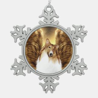 Winged Collie-Engels-Porträt auf Gold Schneeflocken Zinn-Ornament