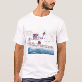Winter am Klumpen-Leuchtturm in Maine T-Shirt