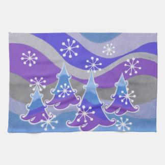 Winter-Baum-Blau-Geschirrtuch Handtuch