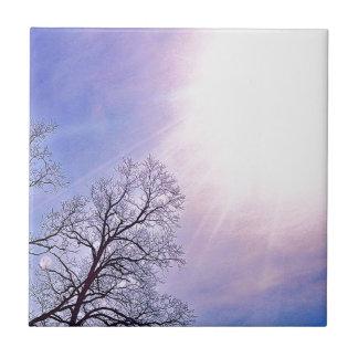 Winter-Bäume u. eine kalte Sunsaisonnatur-Kunst Kleine Quadratische Fliese