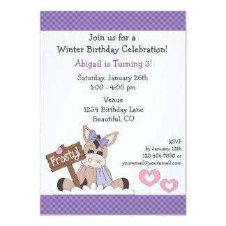 Winter-Esel-Geburtstags-Einladung für Mädchen 12,7 X 17,8 Cm Einladungskarte
