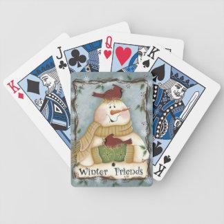 Winter-Freundesnowman-Kardinals-Spielkarten Bicycle Spielkarten