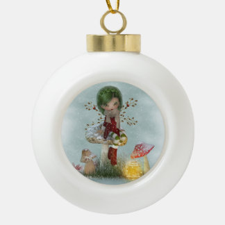 Winter Green Keramik Kugel-Ornament