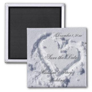 Winter-Hochzeiten Save the Date Quadratischer Magnet