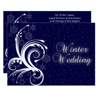 Winter-Hochzeits-, Schneeflocke-und Karte
