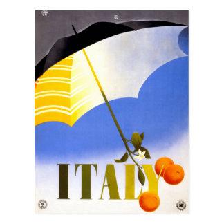 Winter im Vintagen Reise-Plakat Italiens wieder Postkarte