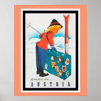 Winter im Vintagen Reise-Plakat Österreichs Poster