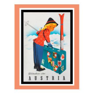 Winter im Vintagen Reise-Plakat Österreichs Postkarte