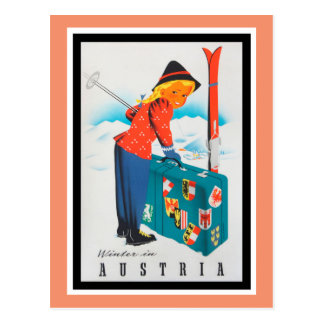 Winter im Vintagen Reise-Plakat Österreichs Postkarten