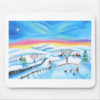 Winter-Landschaftsmalerei-Nordlichter Mousepad