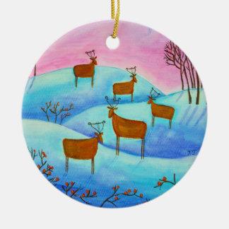Winter-Landschaftsweihnachtsverzierung Keramik Ornament