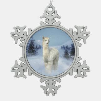 Winter-Nachtalpaka-Zinn-Schneeflocke-Verzierung