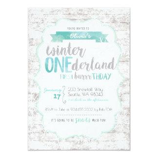 Winter Onederland erste Geburtstags-Einladung 12,7 X 17,8 Cm Einladungskarte