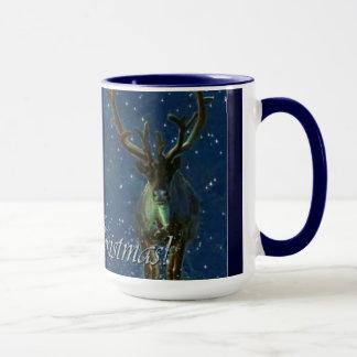 Winter-Ren, Schnee u. frohe Weihnacht-Entwurf Tasse