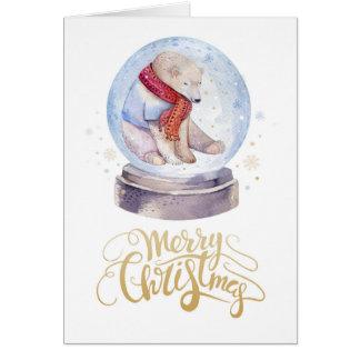 Winter-Schnee-Eisbär-frohe Weihnachten Karte