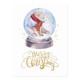 Winter-Schnee-Eisbär-frohe Weihnachten Postkarte