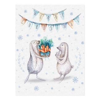 Winter-Schnee-Häschen-frohe Weihnachten Postkarte
