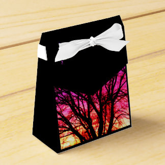 Winter-Sonnenuntergang-Baum - Schwarzes Geschenkschachtel