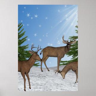 Winter-wildes Natur-Rotwild-Kunst-Druck-Plakat Poster