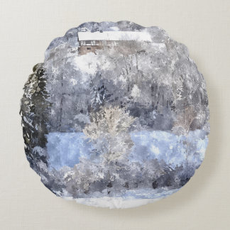 Winterlandschaft - created by Jean-Louis Glineur Rundes Kissen