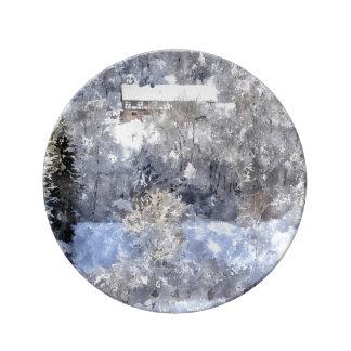Winterlandschaft - created by Jean-Louis Glineur Teller Aus Porzellan
