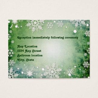 Winterliche grüne Hochzeits-Empfangs-Karte Visitenkarte