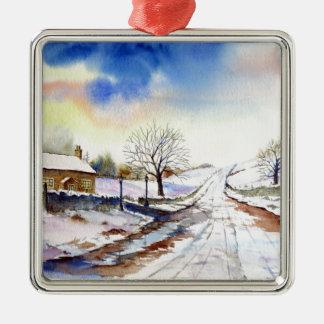 Winterliche Weg-Aquarell-Landschaftsmalerei Silbernes Ornament