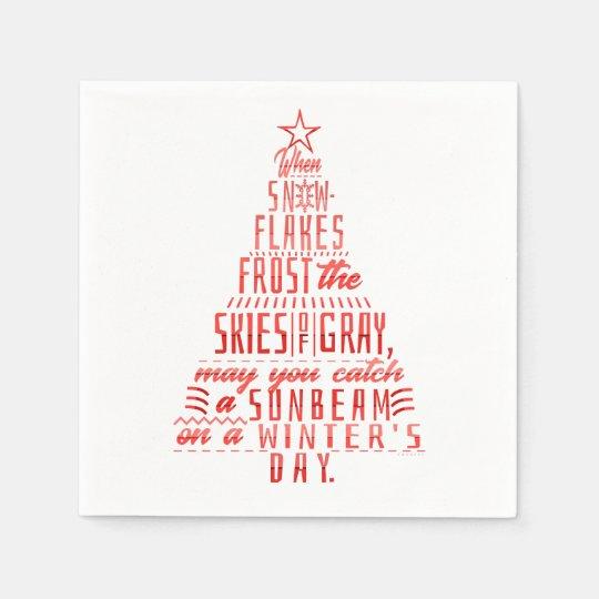 Weihnachtsbaum Gedicht.Winterurlaub Weihnachtsbaum Schneeflocke Gedicht Serviette