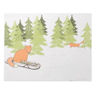 Winterzeit, die Fox - Illustration Sledding ist Notizblock