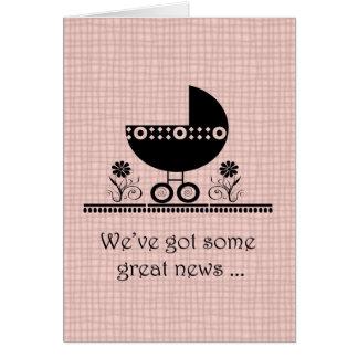 Wir erwarten eine Baby-Rosa-Mitteilung Mitteilungskarte