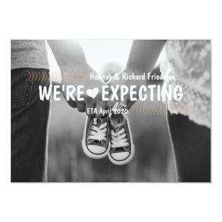 Wir erwarten Schwangerschafts-Foto-Mitteilung Karte