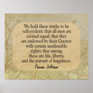 Wir halten diese Wahrheiten - Jefferson-Zitat - Poster