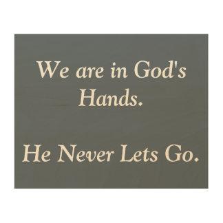 Wir sind in der Wand-Kunst des Gottes Hand Holzdruck
