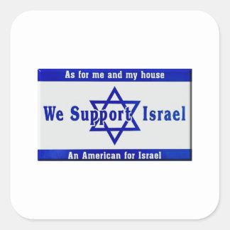 Wir stützen Israel Quadratischer Aufkleber