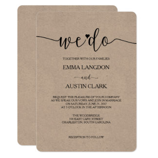 Wir tun Hochzeits-Einladung - Kraftpapier 12,7 X 17,8 Cm Einladungskarte