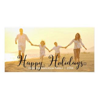 Wirble schwarze glückliche Feiertage - Foto-Karte Personalisierte Foto Karte