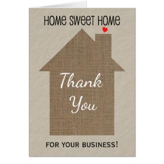 Wirklicher Anwesen-Agent danken Ihnen Karte