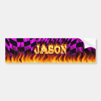 Wirkliches Feuer Jasons und Autoaufkleber